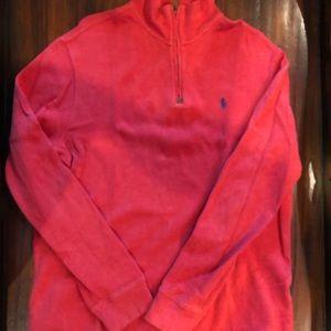 Ralph Lauren red 1/4 zip pull over med